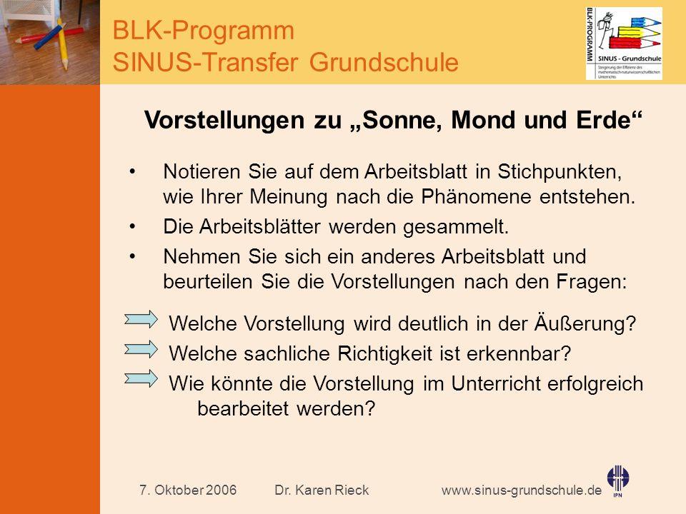 www.sinus-grundschule.de BLK-Programm SINUS-Transfer Grundschule Dr. Karen Rieck7. Oktober 2006 Vorstellungen zu Sonne, Mond und Erde Notieren Sie auf