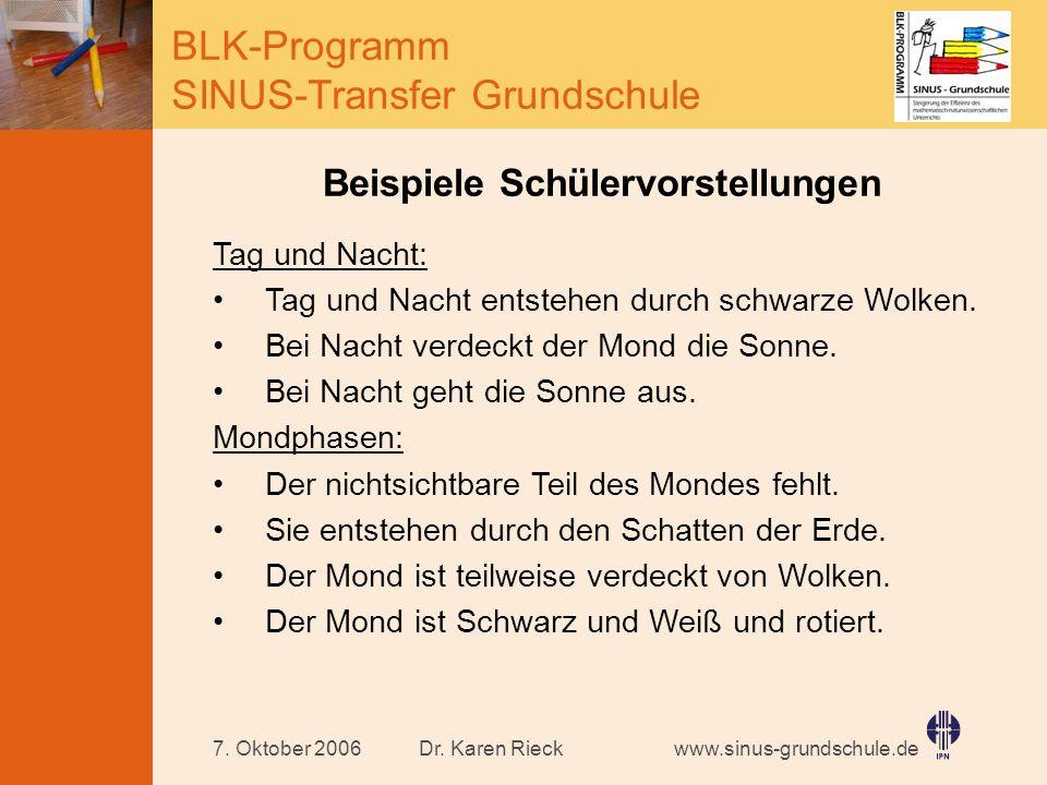 www.sinus-grundschule.de BLK-Programm SINUS-Transfer Grundschule Dr. Karen Rieck7. Oktober 2006 Beispiele Schülervorstellungen Tag und Nacht: Tag und