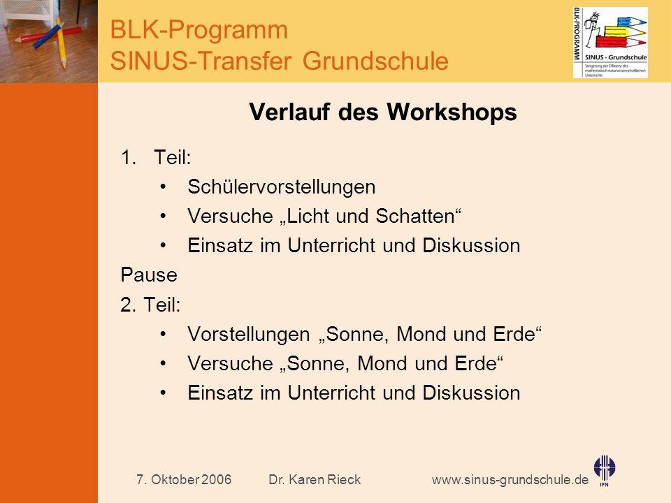 www.sinus-grundschule.de BLK-Programm SINUS-Transfer Grundschule Dr. Karen Rieck7. Oktober 2006 Verlauf des Workshops 1.Teil: Schülervorstellungen Ver