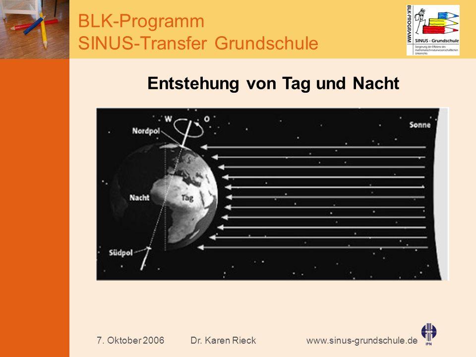 www.sinus-grundschule.de BLK-Programm SINUS-Transfer Grundschule Dr. Karen Rieck7. Oktober 2006 Entstehung von Tag und Nacht