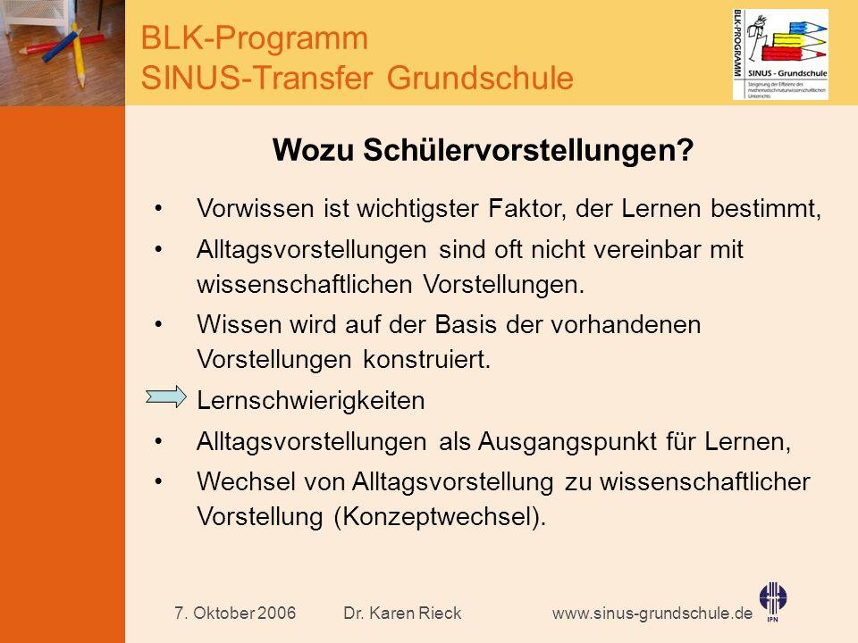 www.sinus-grundschule.de BLK-Programm SINUS-Transfer Grundschule Dr. Karen Rieck7. Oktober 2006 Wozu Schülervorstellungen? Vorwissen ist wichtigster F