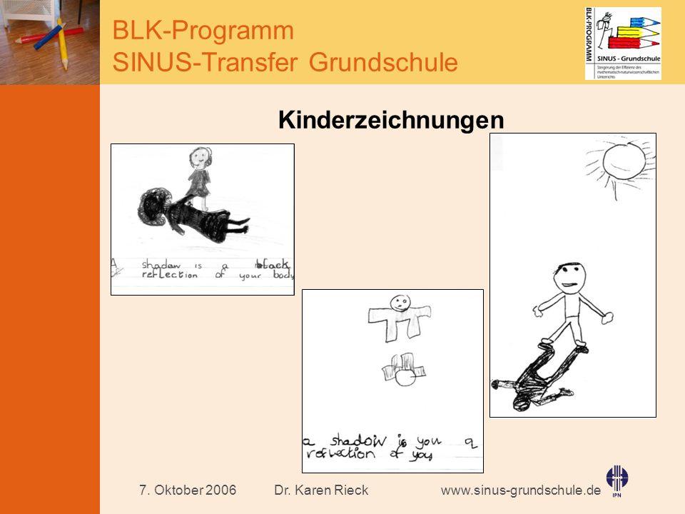 www.sinus-grundschule.de BLK-Programm SINUS-Transfer Grundschule Dr. Karen Rieck7. Oktober 2006 Kinderzeichnungen