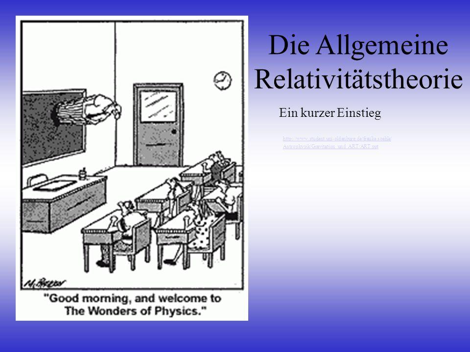 Literaturtipps Banesh Hoffmann: Einsteins Ideen, Spektrum 1997 (gute und leicht verständliche Einführung der Speziellen und Allgemeinen Relativitätstheorie – Schwerpunkt: SRT) Stephen Hawking: Eine kurze Geschichte der Zeit (populärwissenschaftlich gehalten) Internet: http://www.kornelius.de/arth/index.html (ART als Bildergeschichte) http://www.quarks.de/relativ/index.htm (ART einfach erklärt) http://www.ap.univie.ac.at/users/fe/Rel/ (RT und Kosmologie) http://www.tat.physik.uni-tuebingen.de/~zahn/de/rel/rel.html (Visualisierungen der RT)