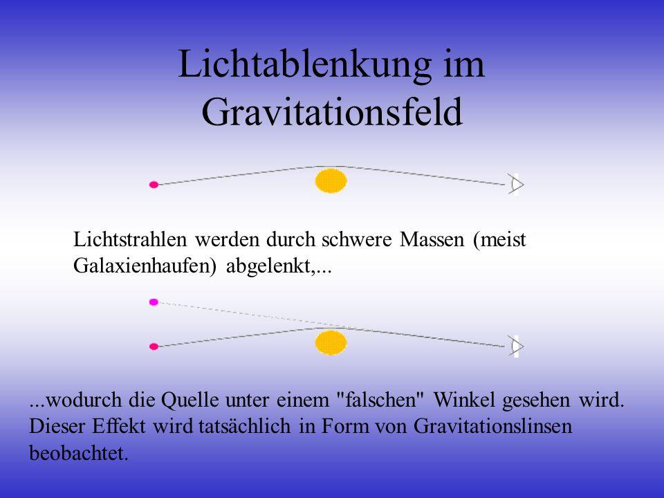 Lichtablenkung im Gravitationsfeld Lichtstrahlen werden durch schwere Massen (meist Galaxienhaufen) abgelenkt,......wodurch die Quelle unter einem