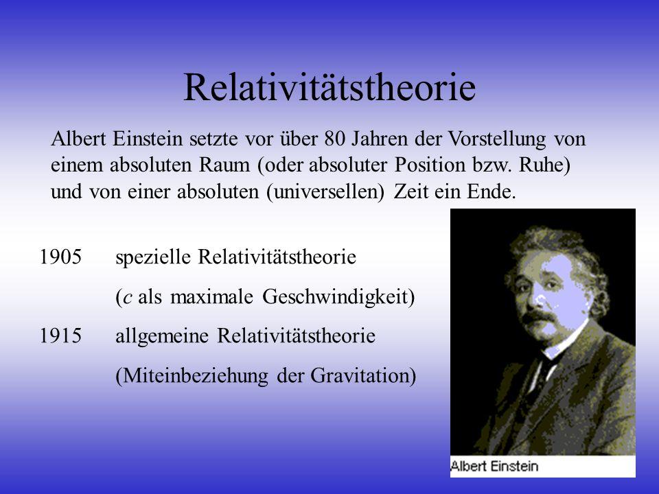 Relativitätstheorie Albert Einstein setzte vor über 80 Jahren der Vorstellung von einem absoluten Raum (oder absoluter Position bzw. Ruhe) und von ein