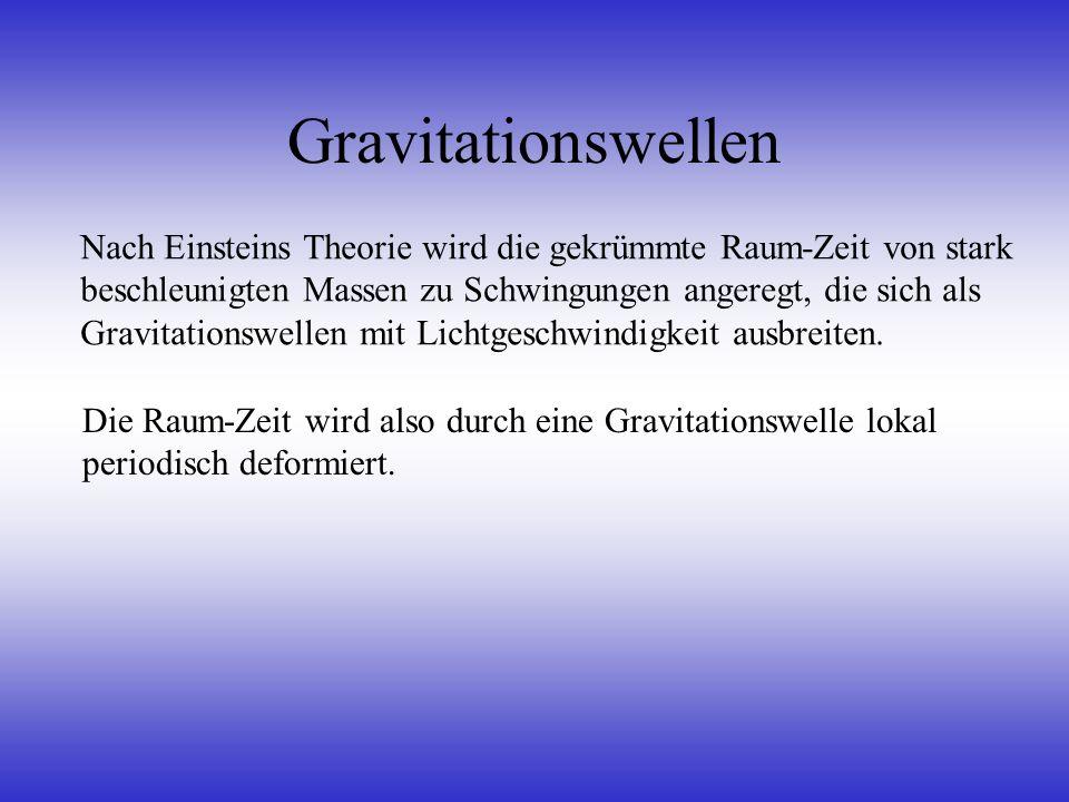 Gravitationswellen Nach Einsteins Theorie wird die gekrümmte Raum-Zeit von stark beschleunigten Massen zu Schwingungen angeregt, die sich als Gravitat