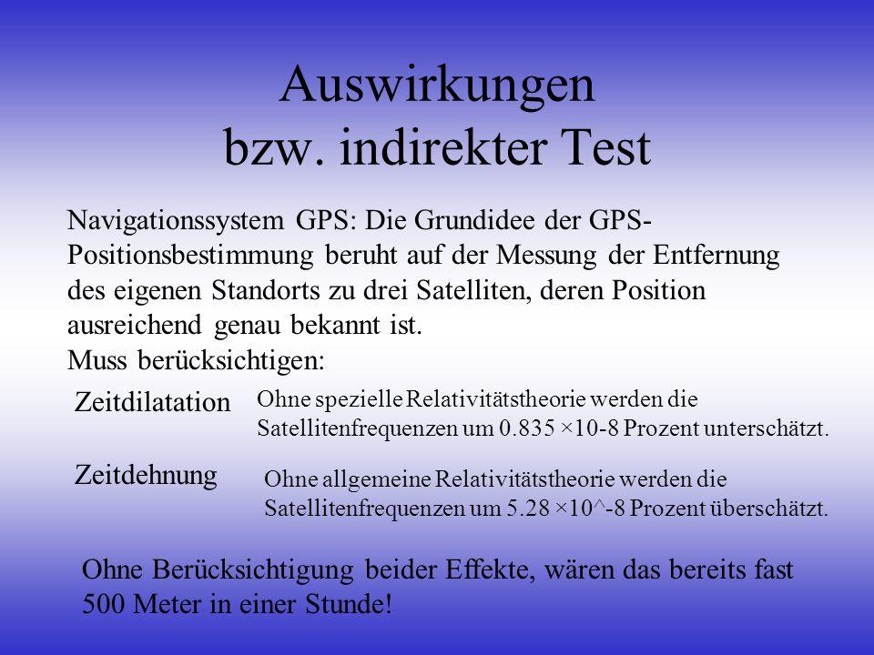Auswirkungen bzw. indirekter Test Navigationssystem GPS: Die Grundidee der GPS- Positionsbestimmung beruht auf der Messung der Entfernung des eigenen