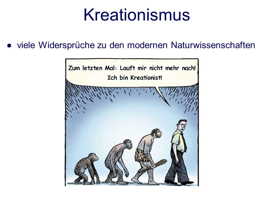 viele Widersprüche zu den modernen Naturwissenschaften Kreationismus