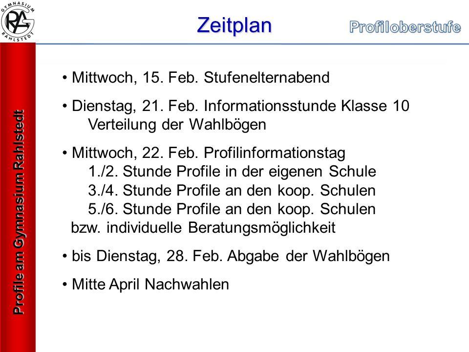 Zeitplan Profile am Gymnasium Rahlstedt Mittwoch, 15.