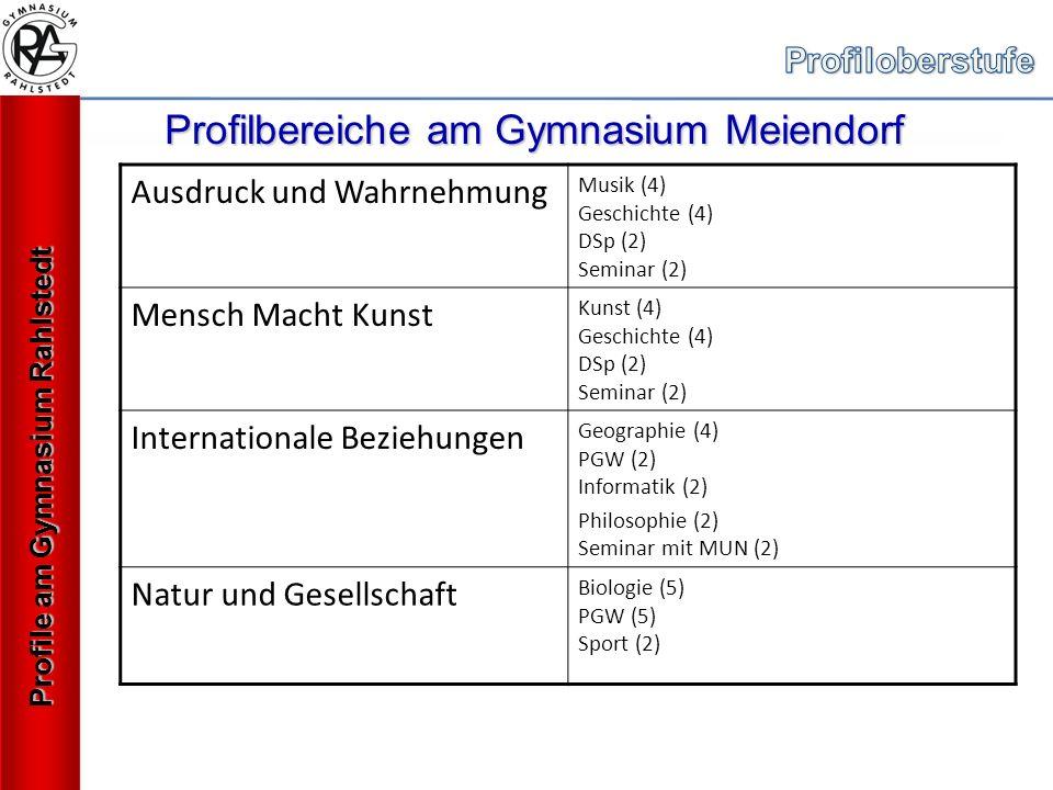 Profilbereiche am Gymnasium Meiendorf Ausdruck und Wahrnehmung Musik (4) Geschichte (4) DSp (2) Seminar (2) Mensch Macht Kunst Kunst (4) Geschichte (4) DSp (2) Seminar (2) Internationale Beziehungen Geographie (4) PGW (2) Informatik (2) Philosophie (2) Seminar mit MUN (2) Natur und Gesellschaft Biologie (5) PGW (5) Sport (2) Profile am Gymnasium Rahlstedt