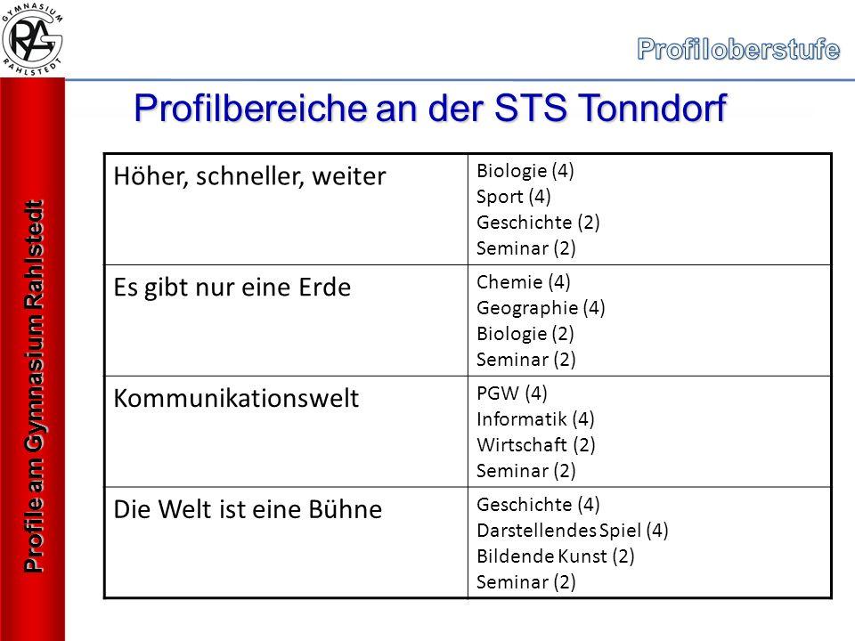 Profilbereiche an der STS Tonndorf Höher, schneller, weiter Biologie (4) Sport (4) Geschichte (2) Seminar (2) Es gibt nur eine Erde Chemie (4) Geographie (4) Biologie (2) Seminar (2) Kommunikationswelt PGW (4) Informatik (4) Wirtschaft (2) Seminar (2) Die Welt ist eine Bühne Geschichte (4) Darstellendes Spiel (4) Bildende Kunst (2) Seminar (2) Profile am Gymnasium Rahlstedt