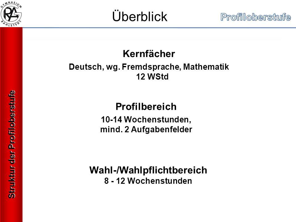Kernfächer Deutsch, wg. Fremdsprache, Mathematik 12 WStd Profilbereich 10-14 Wochenstunden, mind.