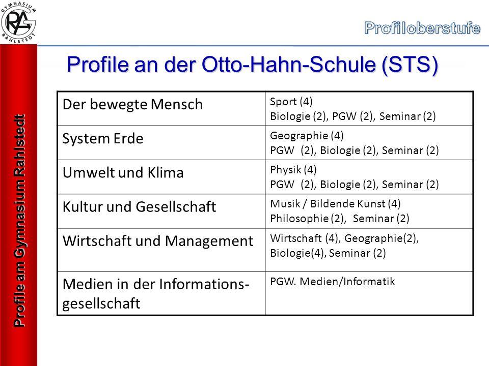 Profile an der Otto-Hahn-Schule (STS) Der bewegte Mensch Sport (4) Biologie (2), PGW (2), Seminar (2) System Erde Geographie (4) PGW (2), Biologie (2), Seminar (2) Umwelt und Klima Physik (4) PGW (2), Biologie (2), Seminar (2) Kultur und Gesellschaft Musik / Bildende Kunst (4) Philosophie (2), Seminar (2) Wirtschaft und Management Wirtschaft (4), Geographie(2), Biologie(4), Seminar (2) Medien in der Informations- gesellschaft PGW.