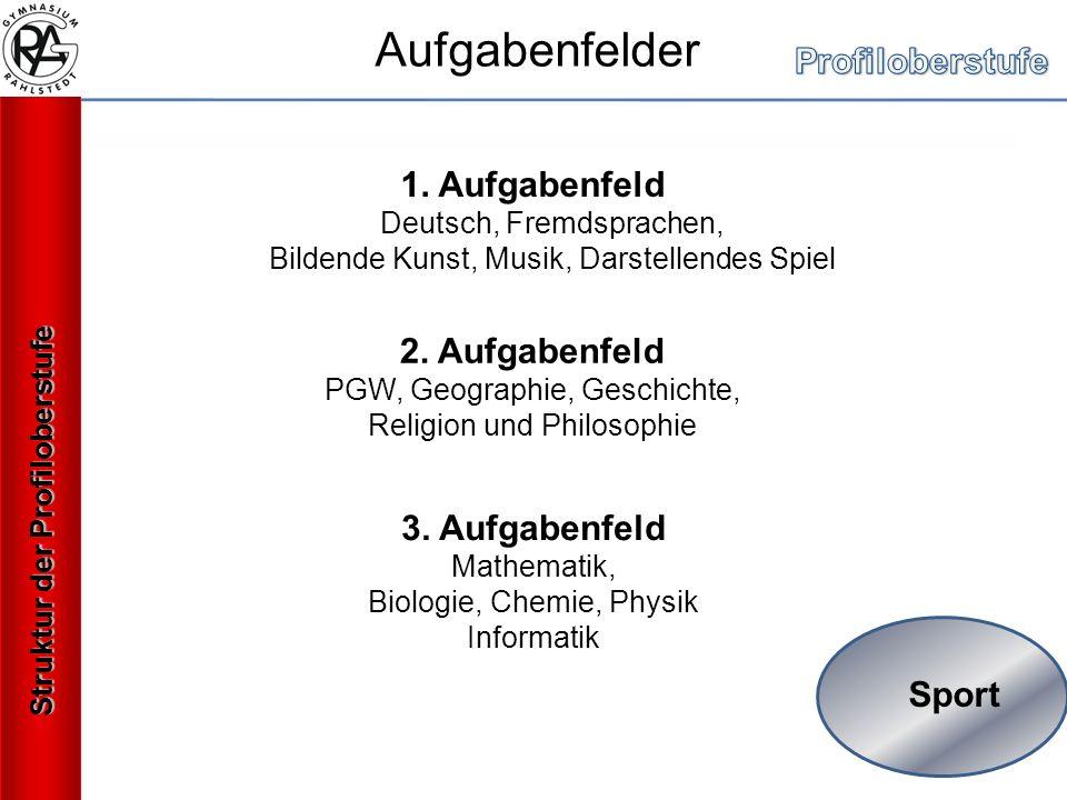 Sport 1. Aufgabenfeld Deutsch, Fremdsprachen, Bildende Kunst, Musik, Darstellendes Spiel 2.