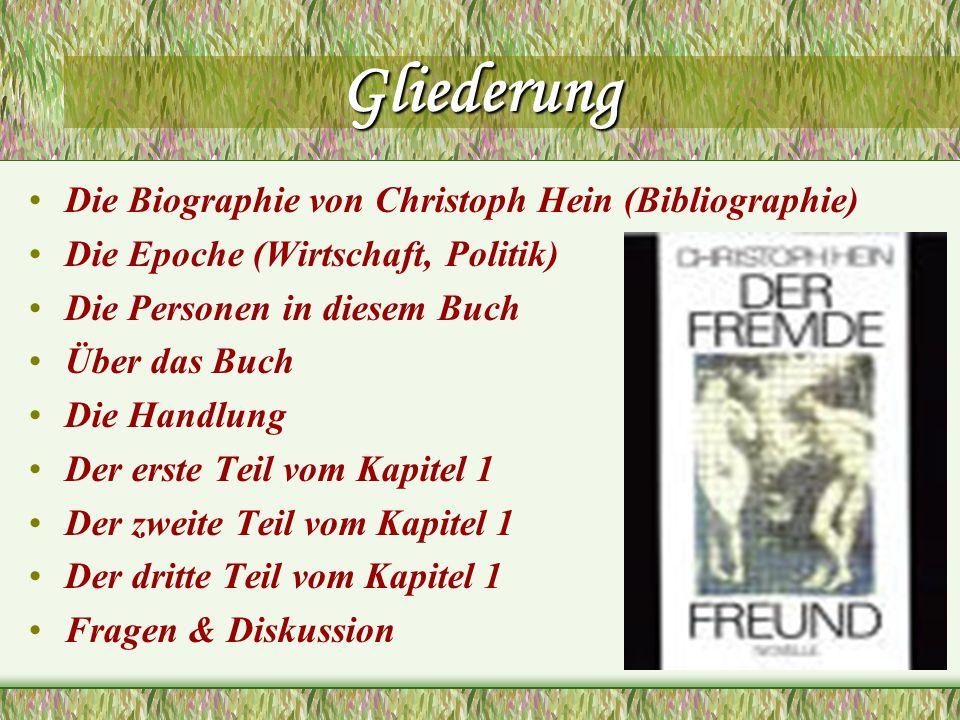 Gliederung Die Biographie von Christoph Hein (Bibliographie) Die Epoche (Wirtschaft, Politik) Die Personen in diesem Buch Über das Buch Die Handlung D