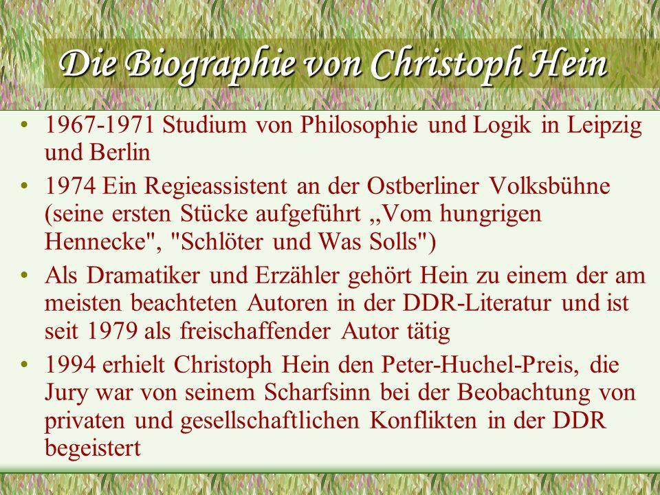 Die Biographie von Christoph Hein 1967-1971 Studium von Philosophie und Logik in Leipzig und Berlin 1974 Ein Regieassistent an der Ostberliner Volksbü