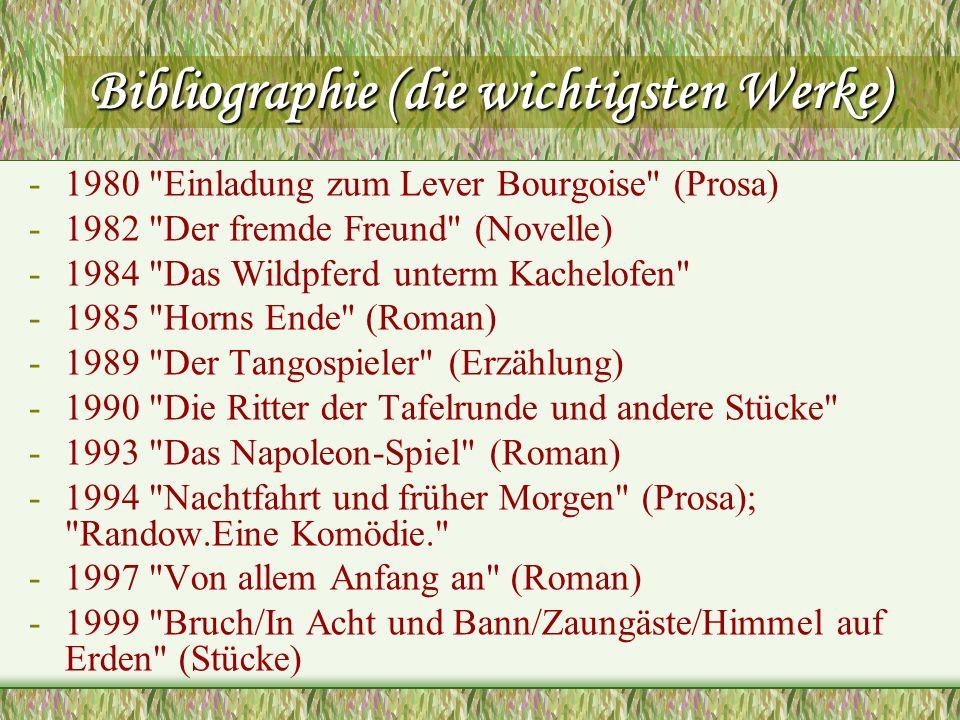 Bibliographie (die wichtigsten Werke) -1980
