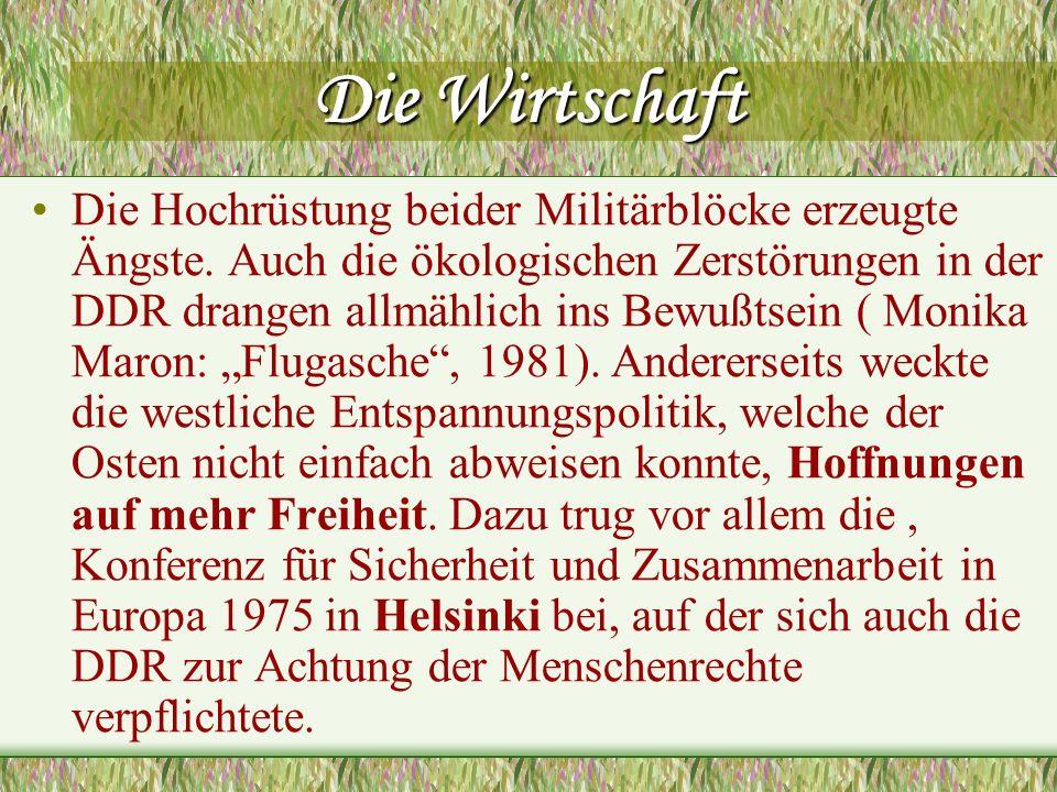 Die Wirtschaft Die Hochrüstung beider Militärblöcke erzeugte Ängste. Auch die ökologischen Zerstörungen in der DDR drangen allmählich ins Bewußtsein (