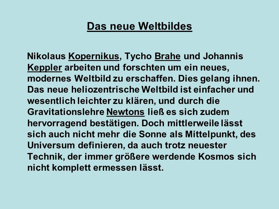 Das neue Weltbildes Nikolaus Kopernikus, Tycho Brahe und Johannis Keppler arbeiten und forschten um ein neues, modernes Weltbild zu erschaffen. Dies g