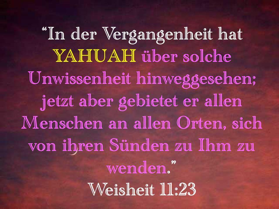 Yahuschua sagte zu ihm: ICH BIN der Weg, die Wahrheit und das Leben. Niemand kommt zum Vater [Yahuah] außer durch Mich. Yochanan 14:6 Willst nicht auc