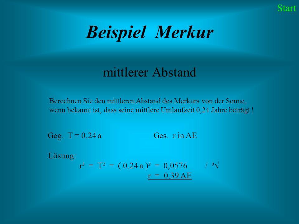 Beispiel Merkur mittlerer Abstand Berechnen Sie den mittleren Abstand des Merkurs von der Sonne, wenn bekannt ist, dass seine mittlere Umlaufzeit 0,24