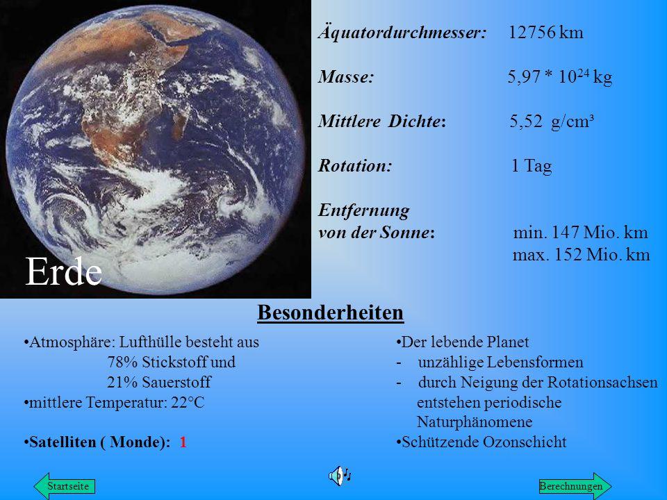 Äquatordurchmesser: 12756 km Masse: 5,97 * 10 24 kg Mittlere Dichte: 5,52 g/cm³ Rotation: 1 Tag Entfernung von der Sonne: min. 147 Mio. km max. 152 Mi