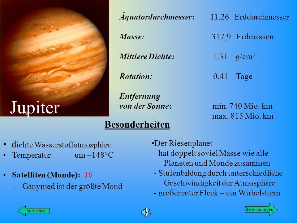 Jupiter Äquatordurchmesser: 11,26 Erddurchmesser Masse: 317,9 Erdmassen Mittlere Dichte: 1,31 g/cm³ Rotation: 0,41 Tage Entfernung von der Sonne: min.