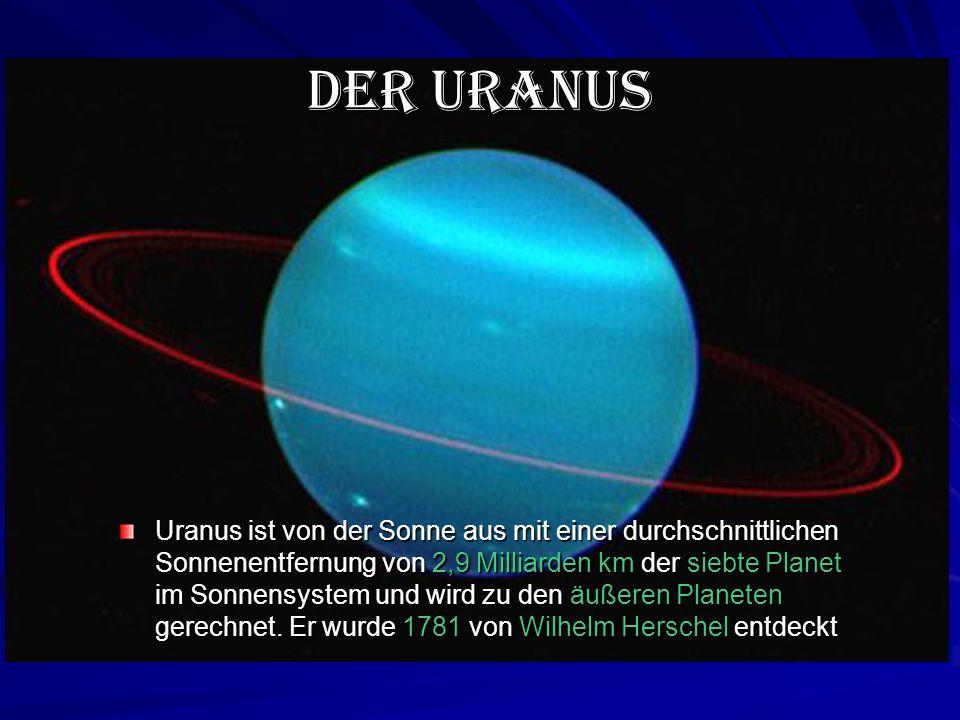 Der Uranus Uranus ist von der Sonne aus mit einer durchschnittlichen Sonnenentfernung von 2,9 Milliarden km der siebte Planet im Sonnensystem und wird zu den äußeren Planeten gerechnet.