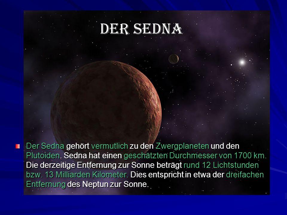 Der Sedna gehört vermutlich zu den Zwergplaneten und den Plutoiden.