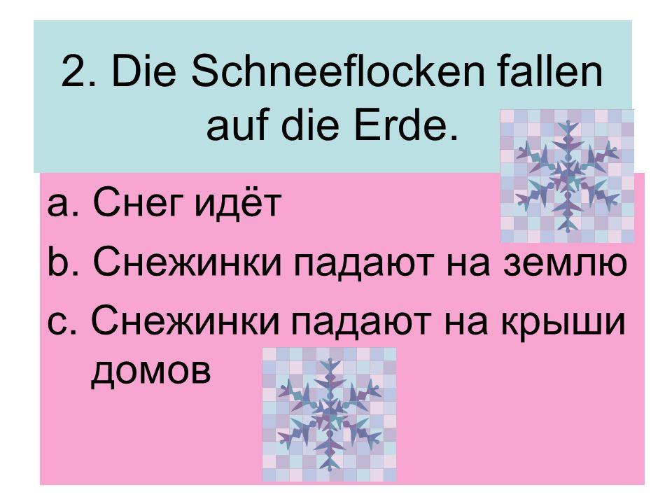2. Die Schneeflocken fallen auf die Erde. a. Снег идёт b. Снежинки падают на землю c. Снежинки падают на крыши домов