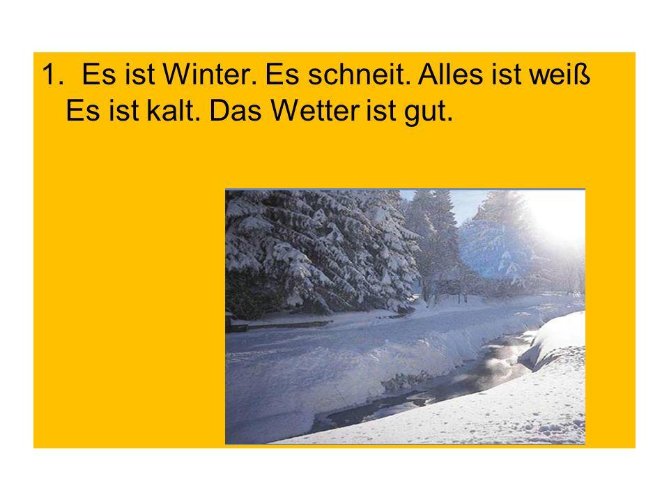1. Es ist Winter. Es schneit. Alles ist weiß Es ist kalt. Das Wetter ist gut.