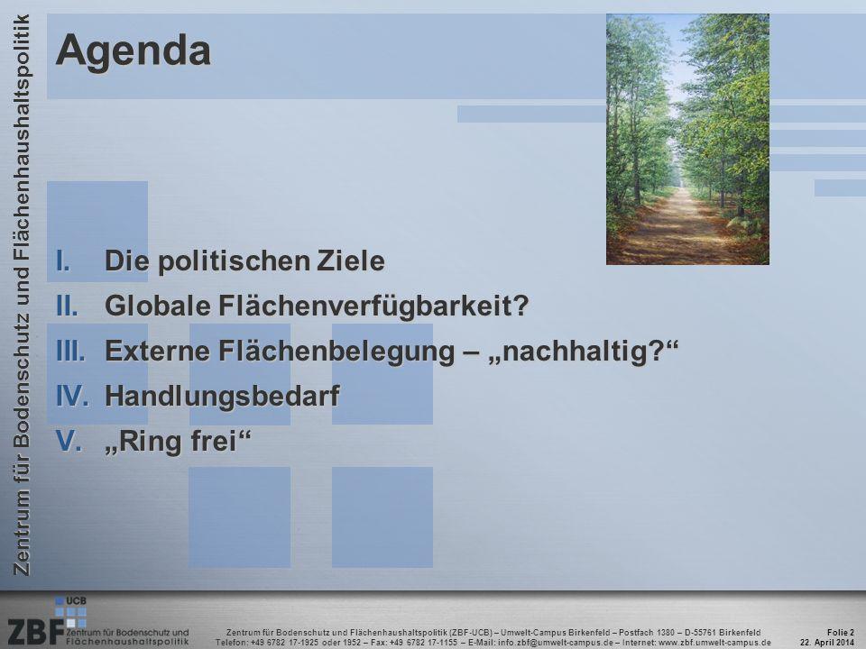 Zentrum für Bodenschutz und Flächenhaushaltspolitik (ZBF-UCB) – Umwelt-Campus Birkenfeld – Postfach 1380 – D-55761 Birkenfeld Telefon: +49 6782 17-1925 oder 1952 – Fax: +49 6782 17-1155 – E-Mail: info.zbf@umwelt-campus.de – Internet: www.zbf.umwelt-campus.de Zentrum für Bodenschutz und Flächenhaushaltspolitik 22.