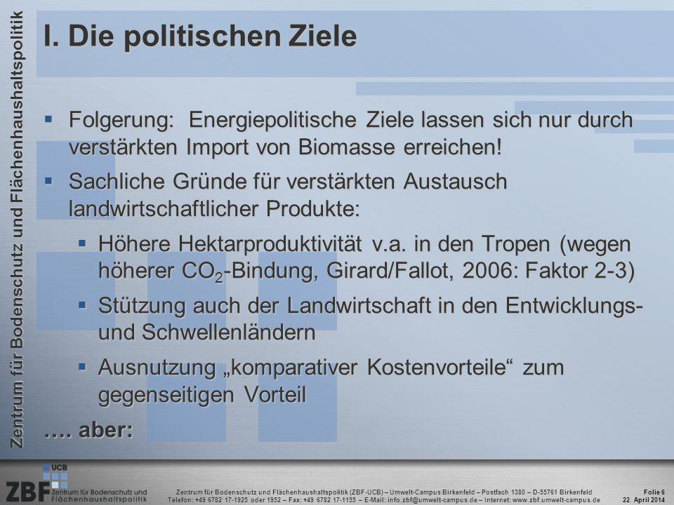 Zentrum für Bodenschutz und Flächenhaushaltspolitik (ZBF-UCB) – Umwelt-Campus Birkenfeld – Postfach 1380 – D-55761 Birkenfeld Telefon: +49 6782 17-1925 oder 1952 – Fax: +49 6782 17-1155 – E-Mail: info.zbf@umwelt-campus.de – Internet: www.zbf.umwelt-campus.de Zentrum für Bodenschutz und Flächenhaushaltspolitik II.