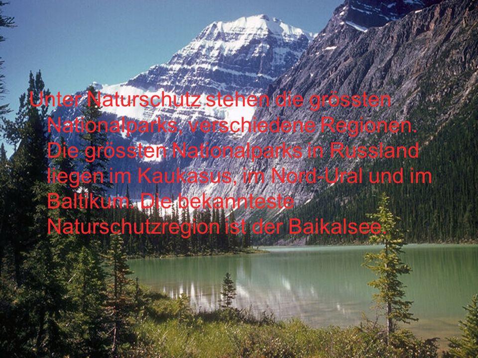Unter Naturschutz stehen die grössten Nationalparks, verschiedene Regionen. Die grössten Nationalparks in Russland liegen im Kaukasus, im Nord-Ural un