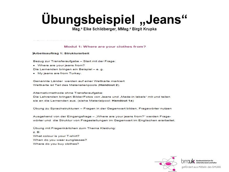 gefördert aus Mitteln des BMUKK Übungsbeispiel Jeans Mag.