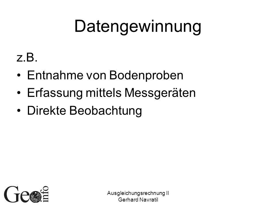 Ausgleichungsrechnung II Gerhard Navratil