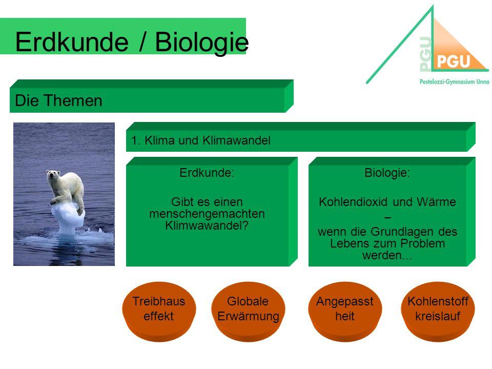Erdkunde / Biologie Die Themen 1. Klima und Klimawandel Erdkunde: Gibt es einen menschengemachten Klimwawandel? Biologie: Kohlendioxid und Wärme – wen