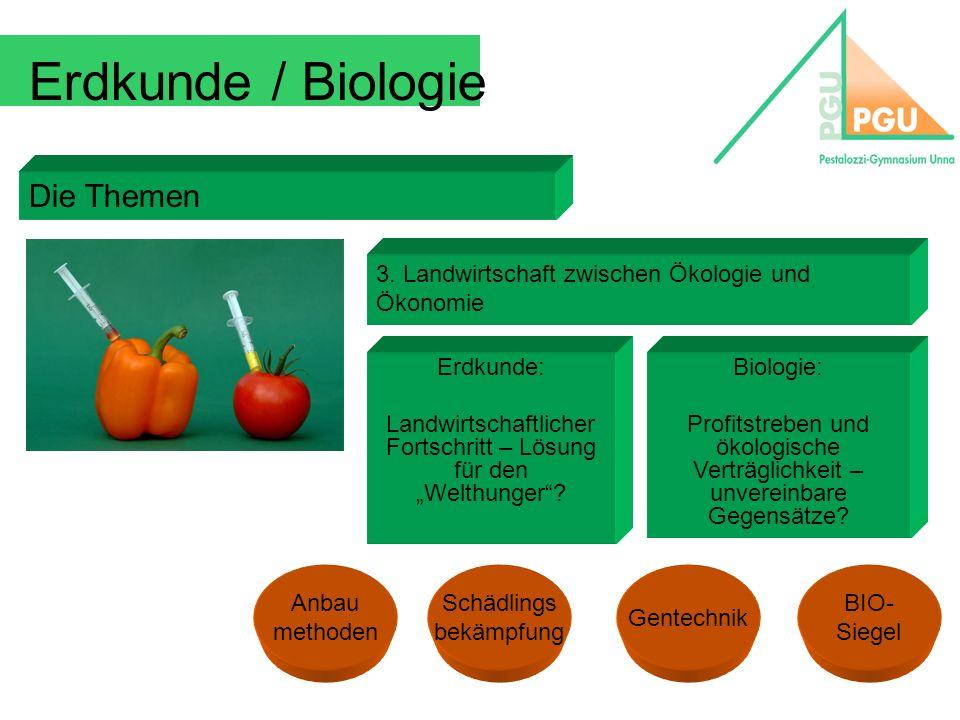 Erdkunde / Biologie Die Themen 3. Landwirtschaft zwischen Ökologie und Ökonomie Erdkunde: Landwirtschaftlicher Fortschritt – Lösung für den Welthunger