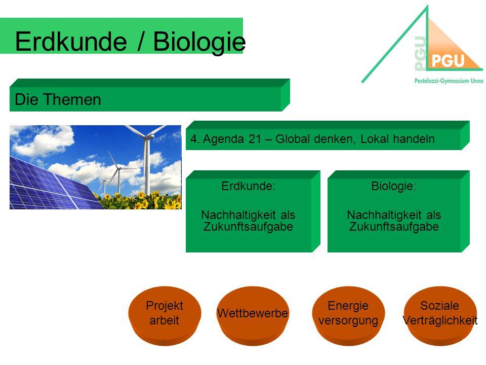 Erdkunde / Biologie Die Themen 4. Agenda 21 – Global denken, Lokal handeln Erdkunde: Nachhaltigkeit als Zukunftsaufgabe Biologie: Nachhaltigkeit als Z
