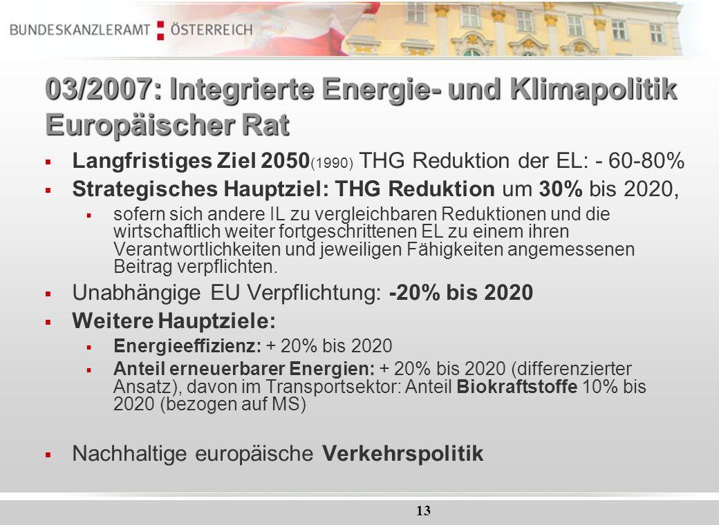 13 03/2007: Integrierte Energie- und Klimapolitik Europäischer Rat Langfristiges Ziel 2050 (1990) THG Reduktion der EL: - 60-80% Strategisches Hauptzi