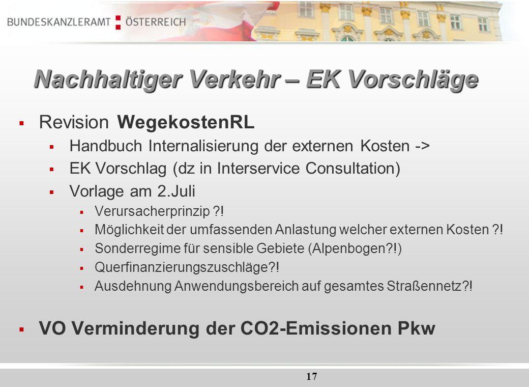 17 Nachhaltiger Verkehr – EK Vorschläge Revision WegekostenRL Handbuch Internalisierung der externen Kosten -> EK Vorschlag (dz in Interservice Consul