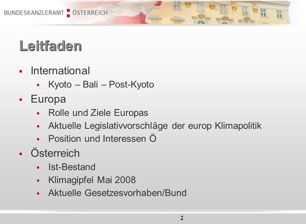 2 Leitfaden International Kyoto – Bali – Post-Kyoto Europa Rolle und Ziele Europas Aktuelle Legislativvorschläge der europ Klimapolitik Position und I
