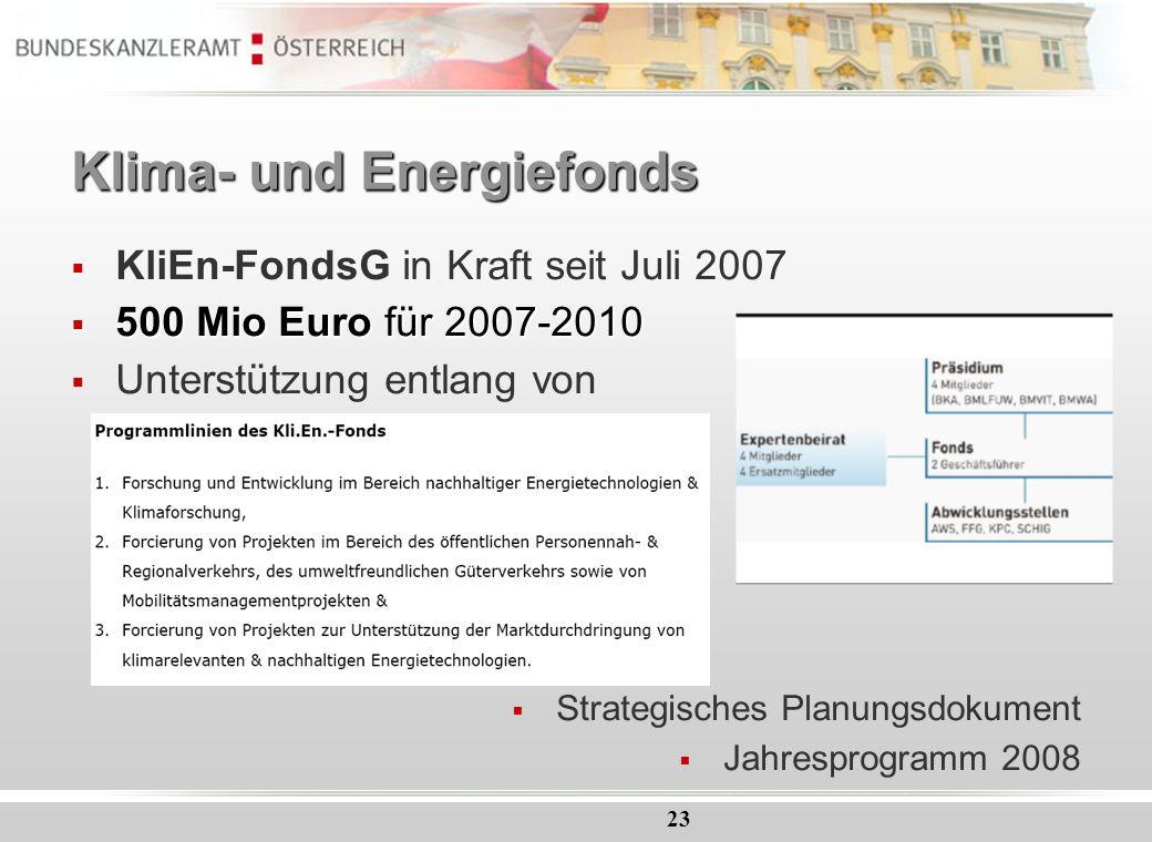 23 Klima- und Energiefonds KliEn-FondsG in Kraft seit Juli 2007 500 Mio Euro für 2007-2010 500 Mio Euro für 2007-2010 Unterstützung entlang von Strate