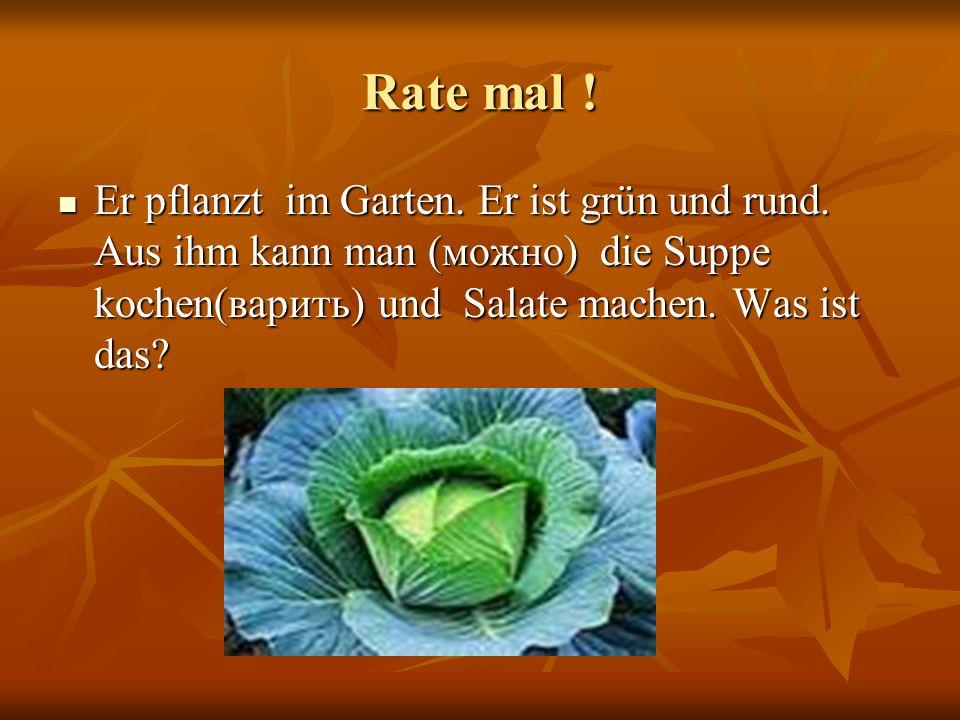Rate mal ! Er pflanzt im Garten. Er ist grün und rund. Aus ihm kann man (можно) die Suppe kochen(варить) und Salate machen. Was ist das? Er pflanzt im