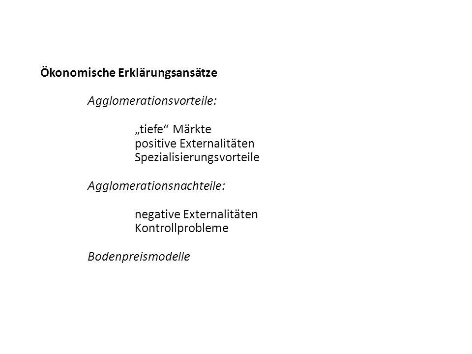 Ökonomische Erklärungsansätze Agglomerationsvorteile: tiefe Märkte positive Externalitäten Spezialisierungsvorteile Agglomerationsnachteile: negative