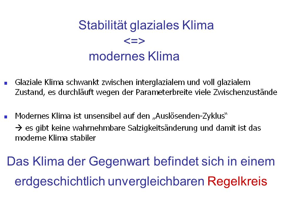 Stabilität glaziales Klima modernes Klima Das Klima der Gegenwart befindet sich in einem erdgeschichtlich unvergleichbaren Regelkreis