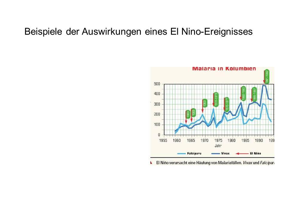 Beispiele der Auswirkungen eines El Nino-Ereignisses