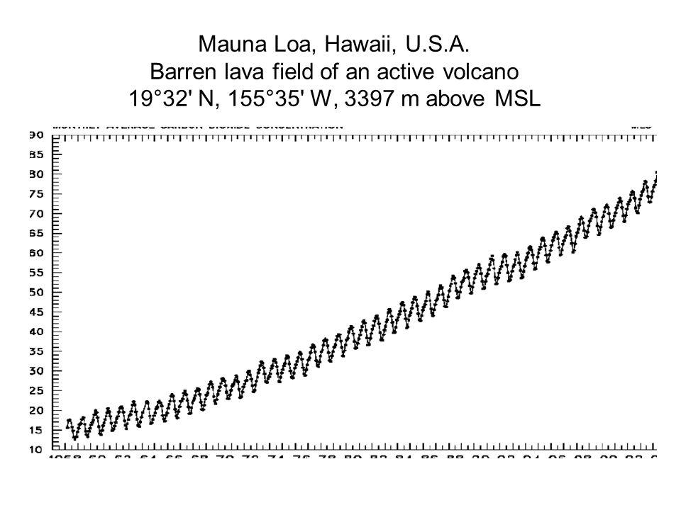 Mauna Loa, Hawaii, U.S.A. Barren lava field of an active volcano 19°32' N, 155°35' W, 3397 m above MSL