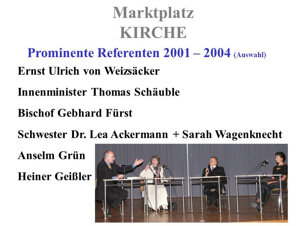 Marktplatz KIRCHE Prominente Referenten 2001 – 2004 (Auswahl) Ernst Ulrich von Weizsäcker Innenminister Thomas Schäuble Bischof Gebhard Fürst Schwester Dr.