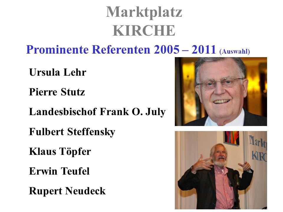 Marktplatz KIRCHE Prominente Referenten 2005 – 2011 (Auswahl) Ursula Lehr Pierre Stutz Landesbischof Frank O.